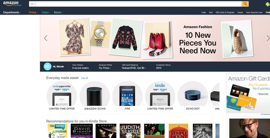 Popular Ecommerce Websites - Amazon