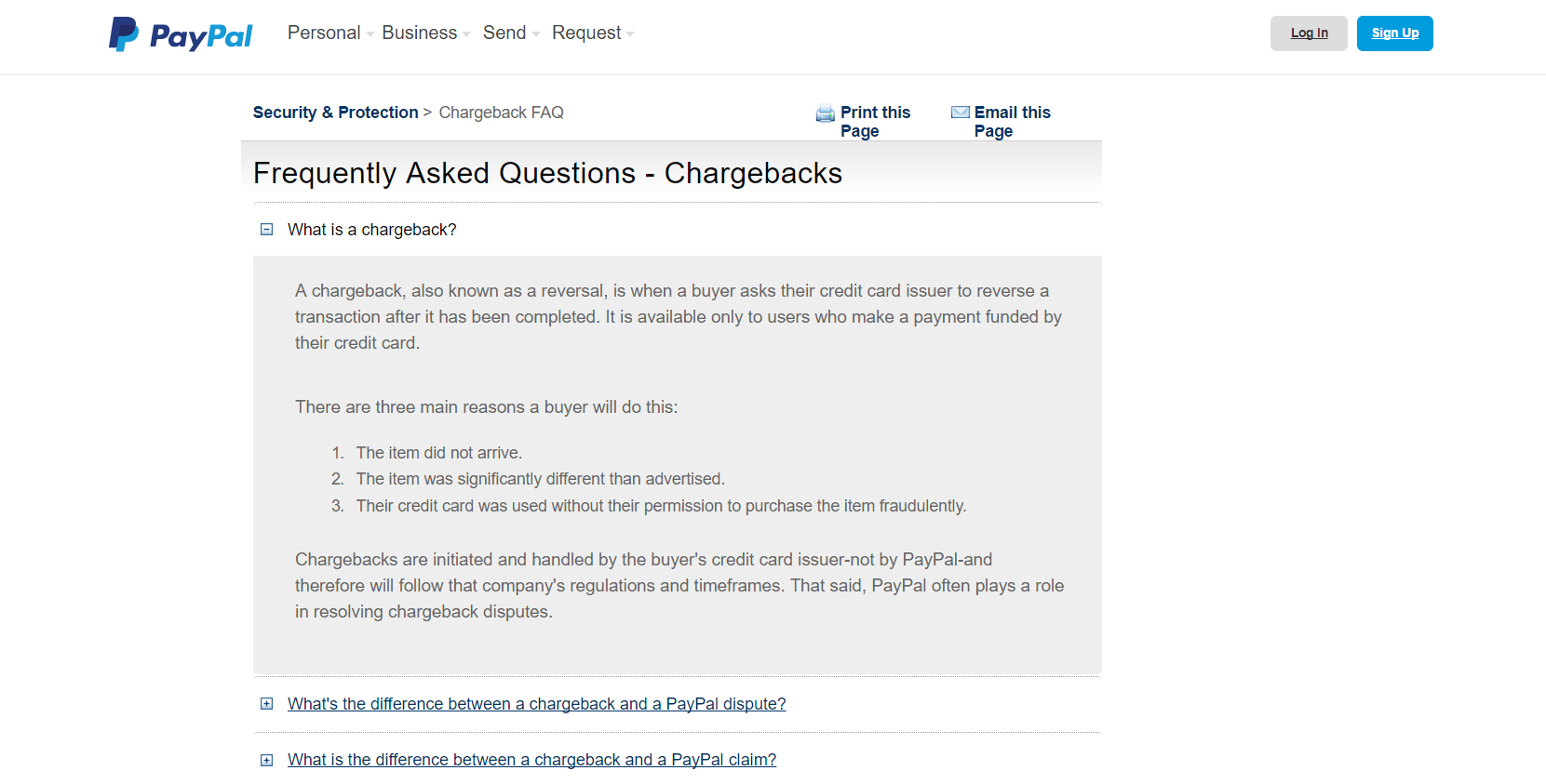 PayPal chargeback
