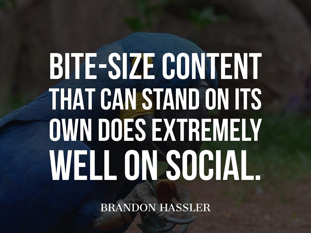 Bite-size content that can stand on its own does extremely well on social.