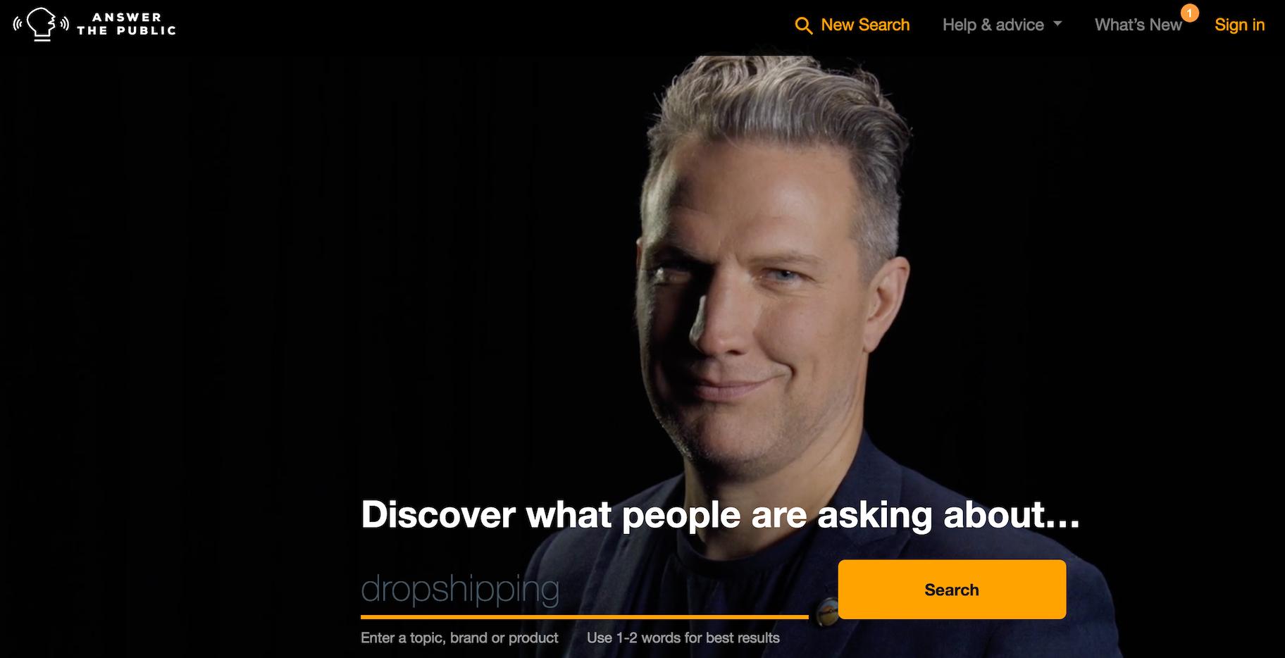 ricerca per webinar: answer the public