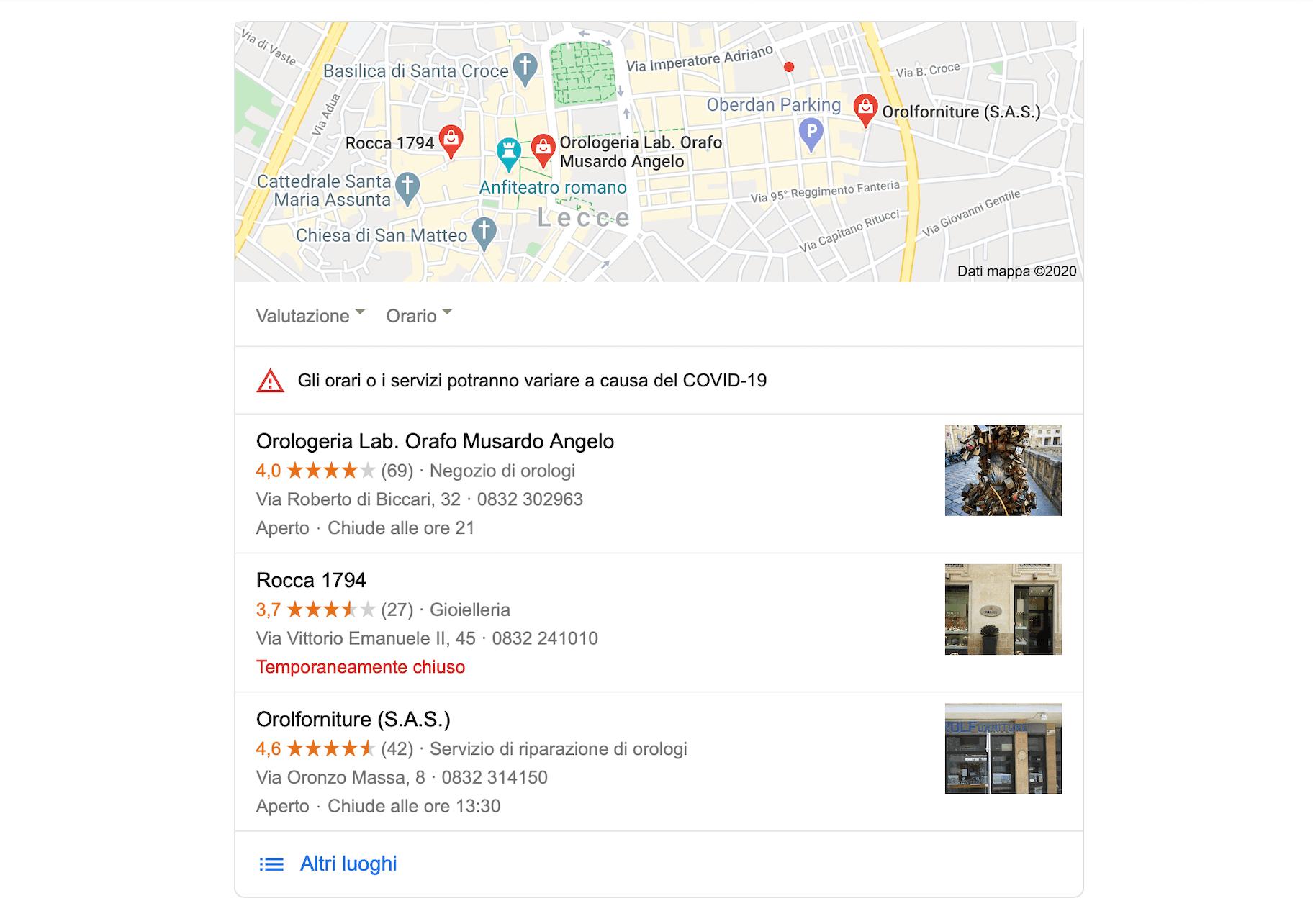 google my business orologi antichi