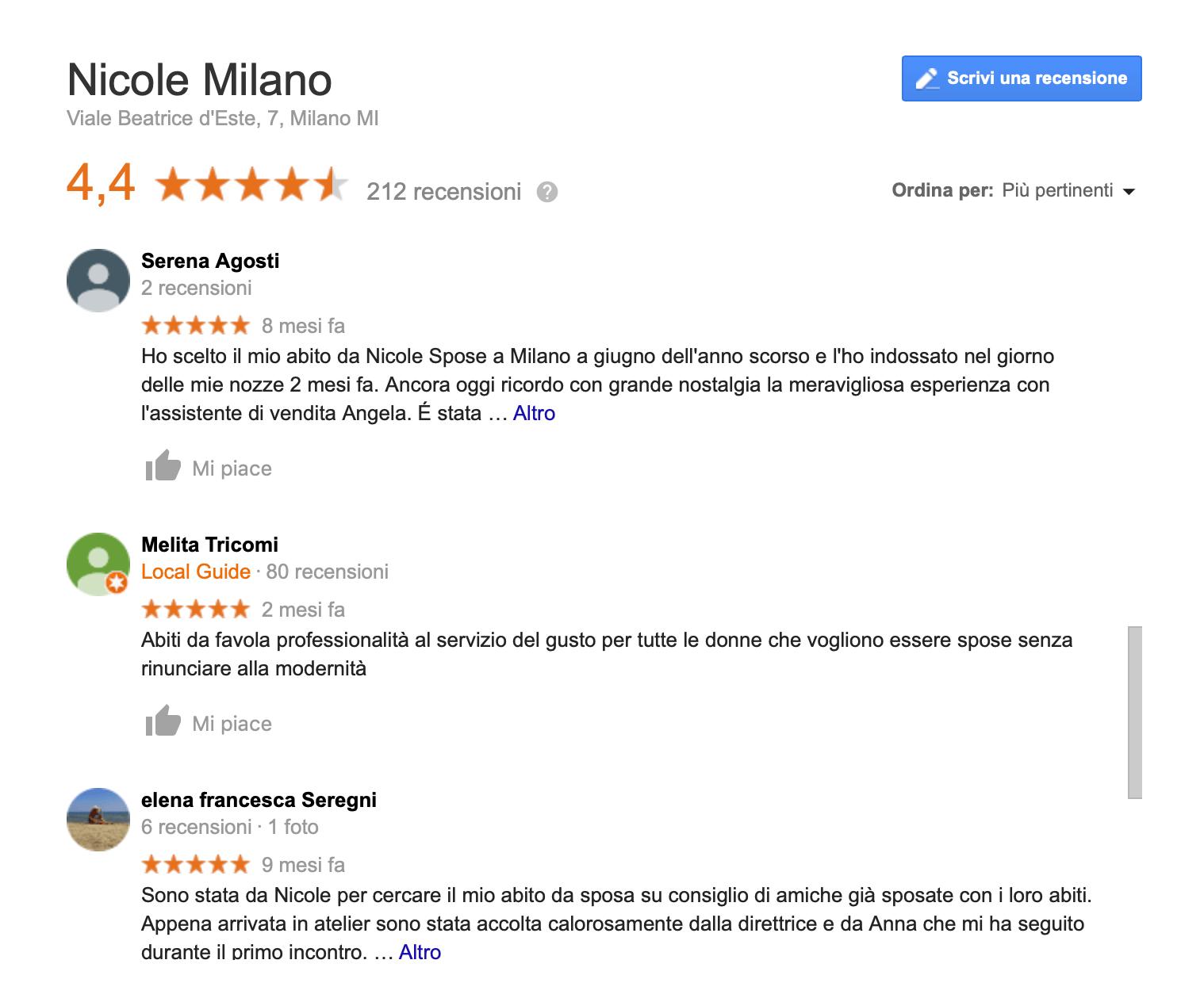 google my business recensioni
