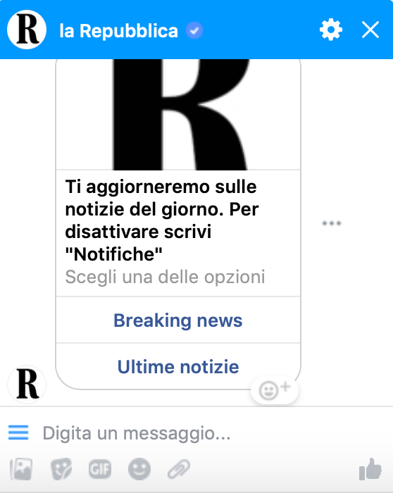 chatbot facebook repubblica
