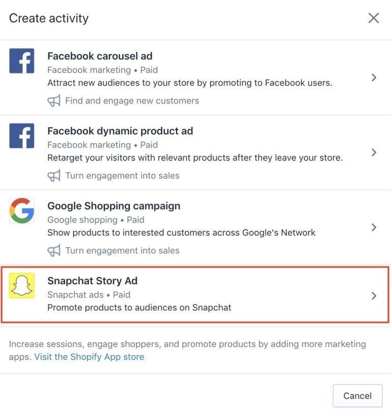 Snapchat Ads étape 11