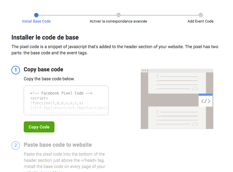 Comment installer le code pixel Facebook