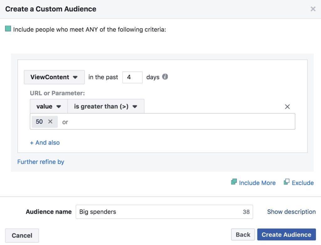 créer une audience pixel facebook