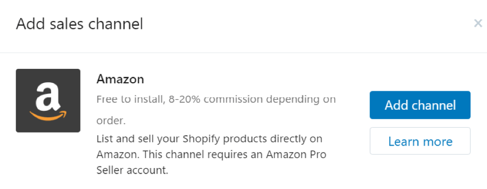 add amazon sales channel Shopify