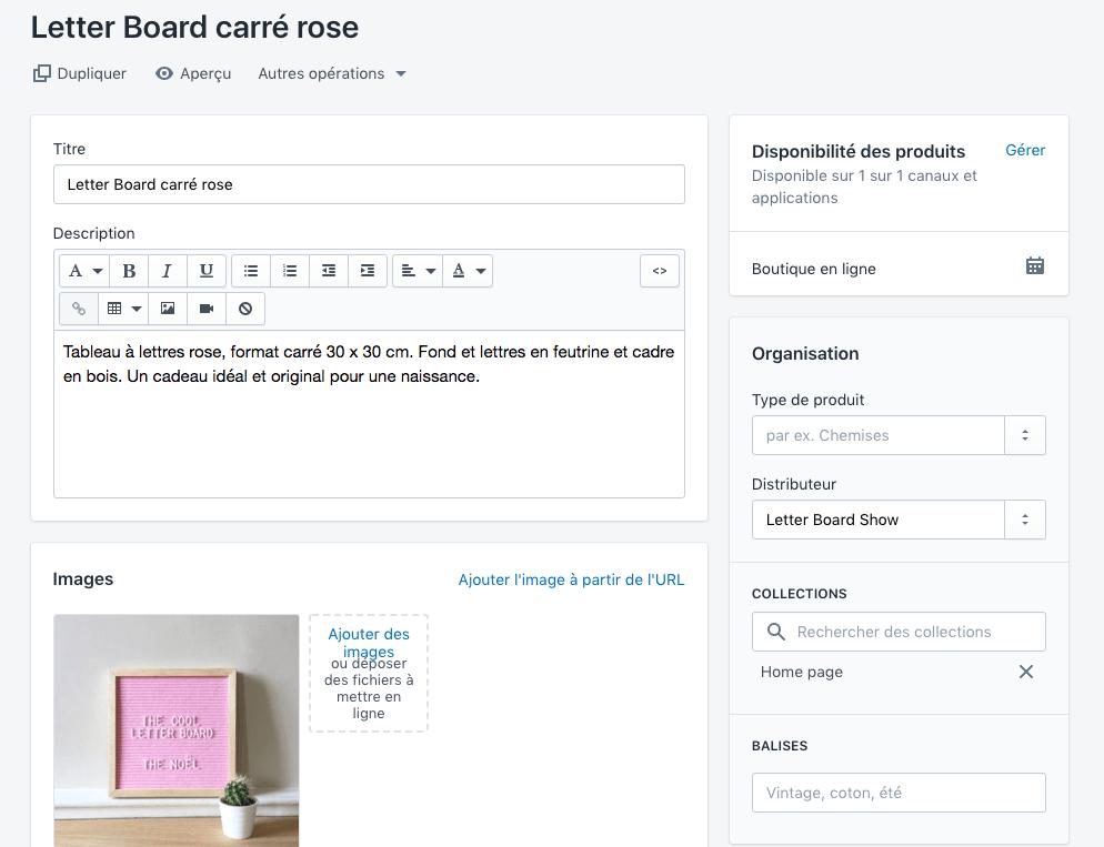 Créer un produit dans Shopify