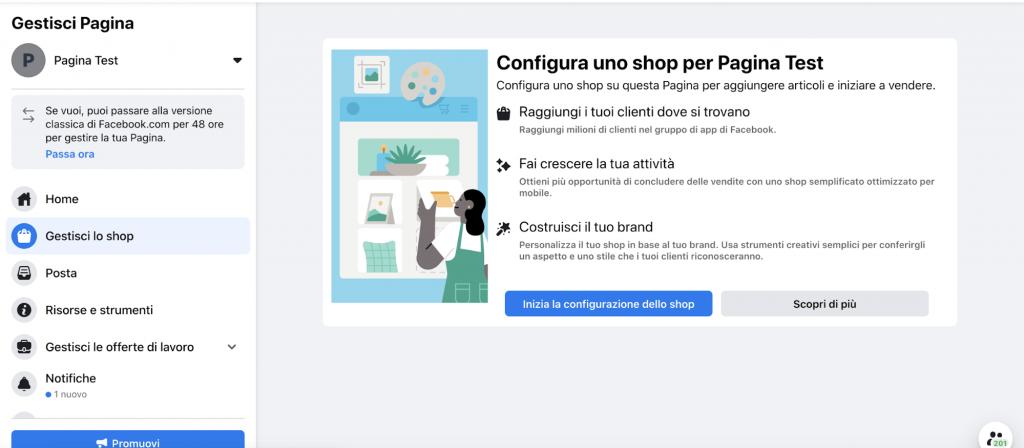 configura uno shop per la pagina facebook aziendale
