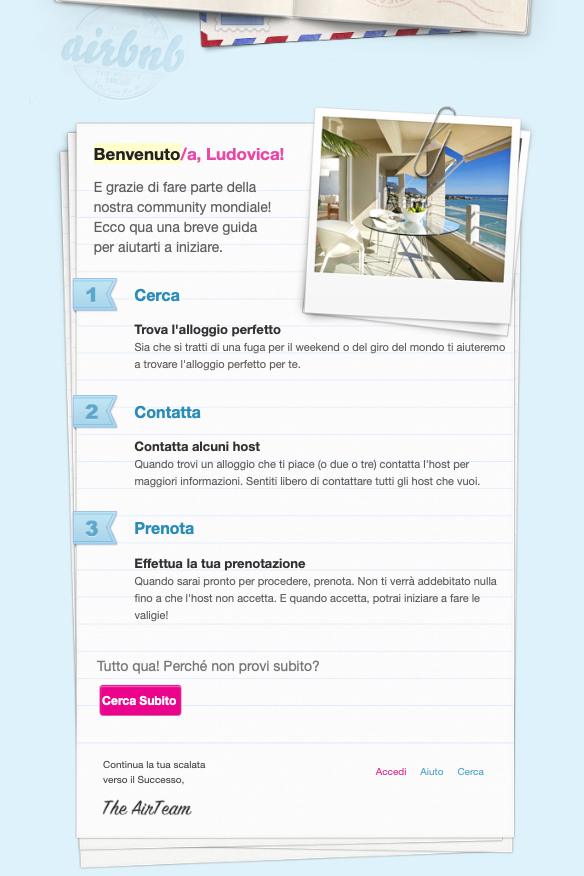 email template benvenuto su airbnb