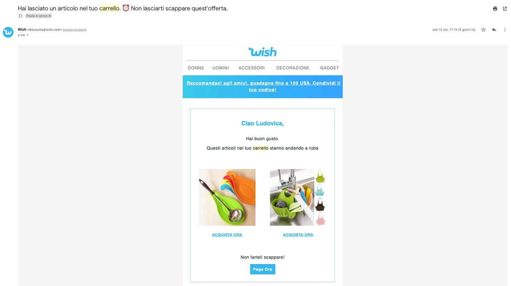 email template carrello abbandonato