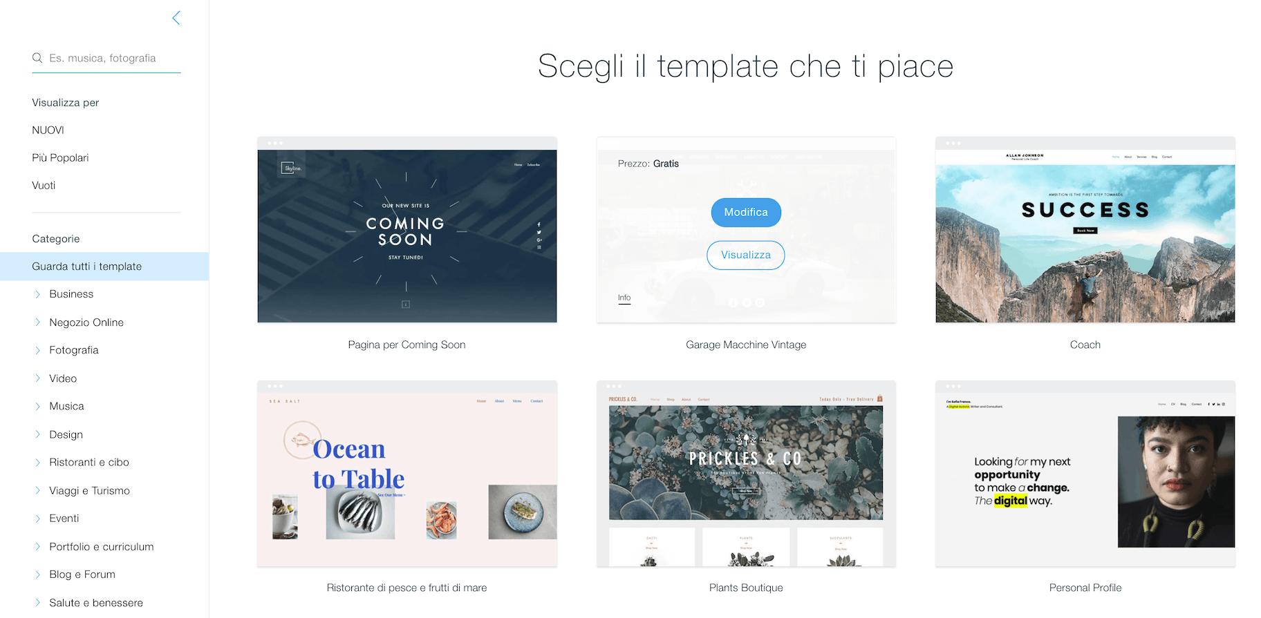 Come creare un sito web: i template wix