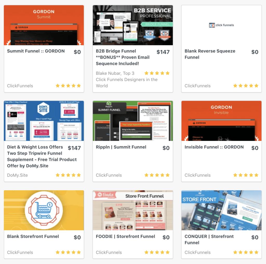 Creare un sito web: ClickFunnels Templates