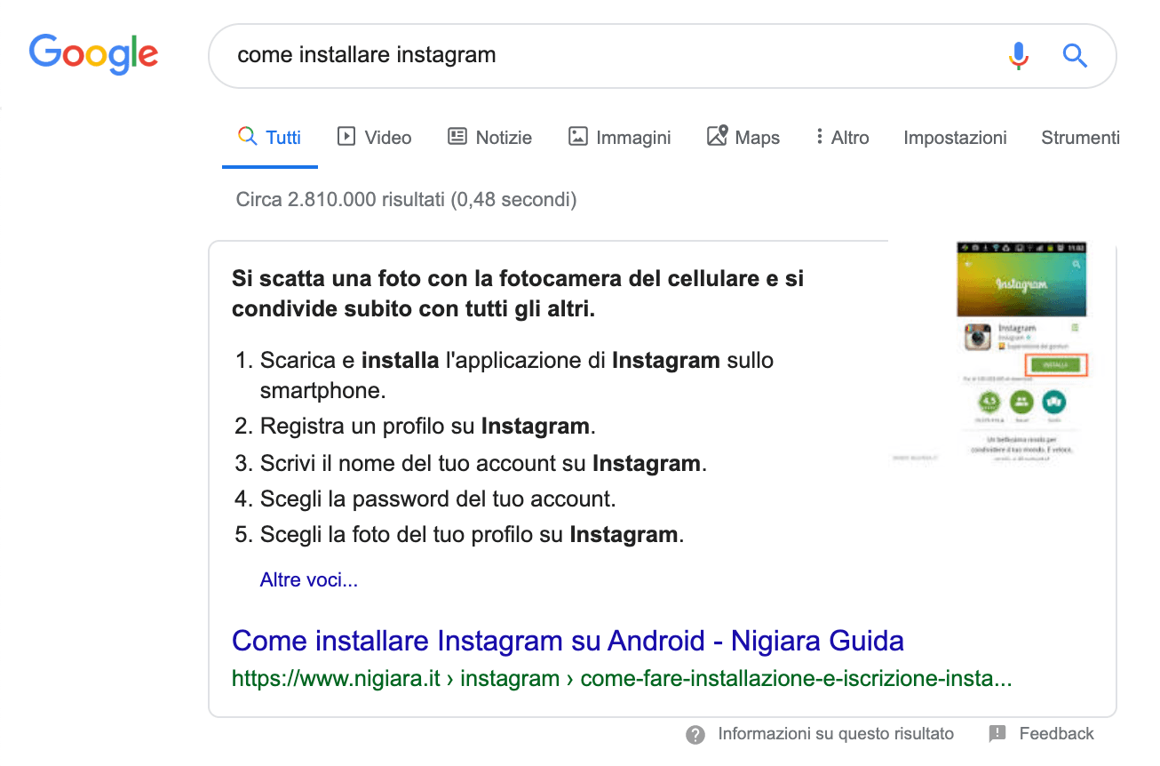elenco numerato su google