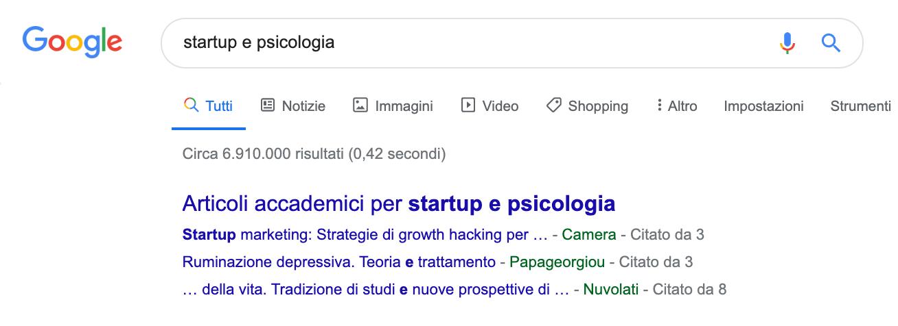 SERP articoli accademici