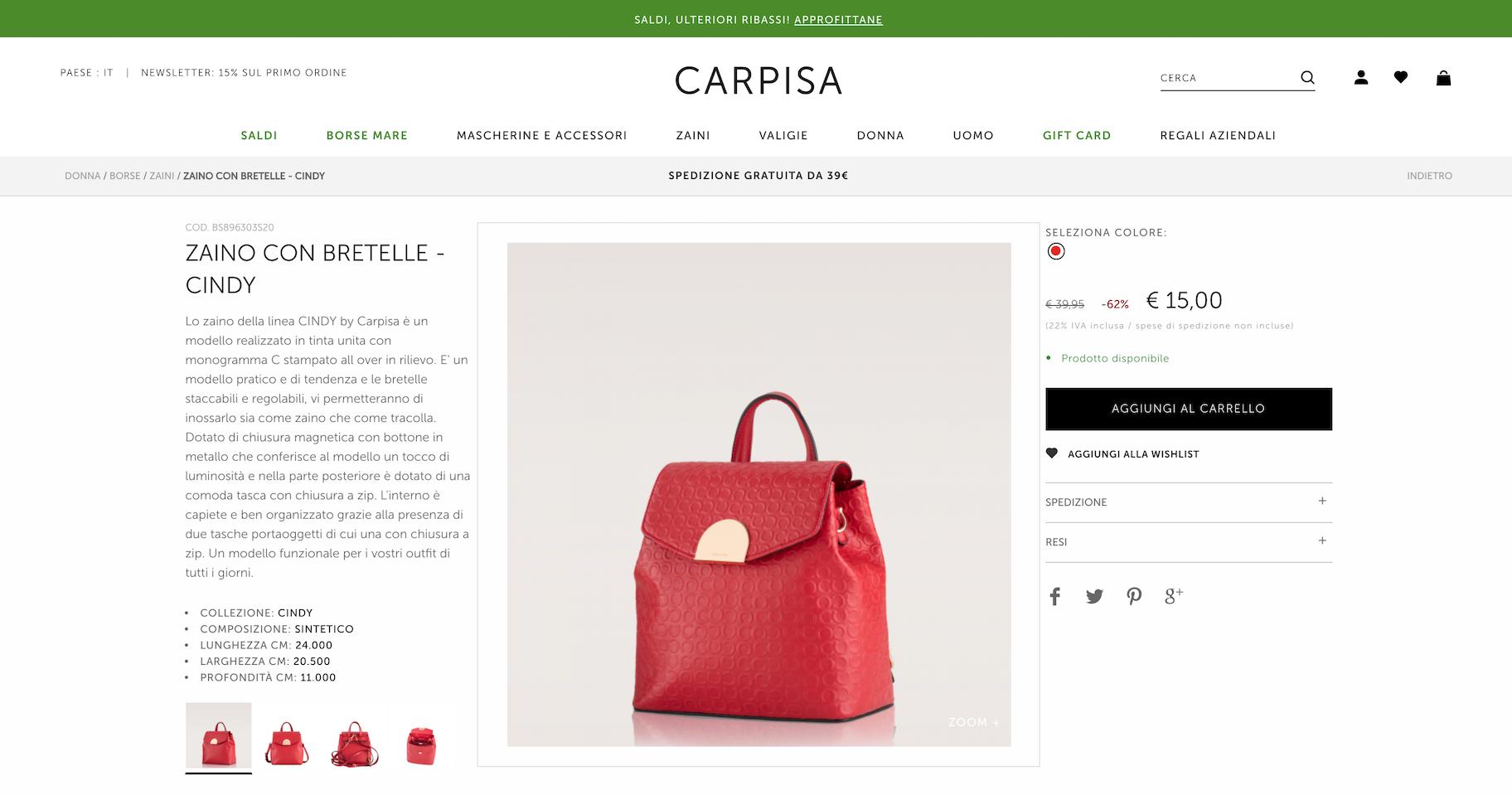 descrizione prodotto - carpisa