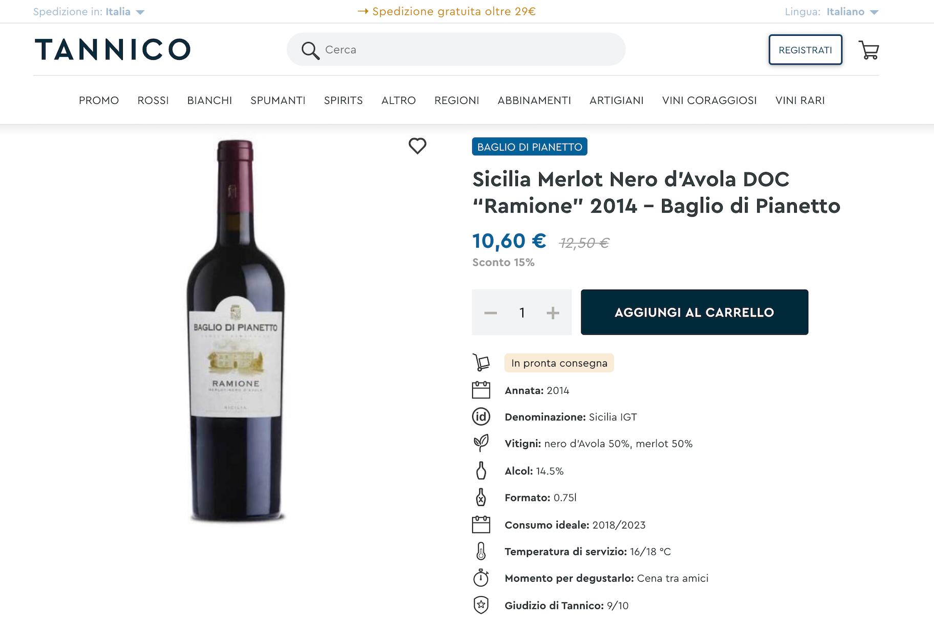 tannico vendita vino