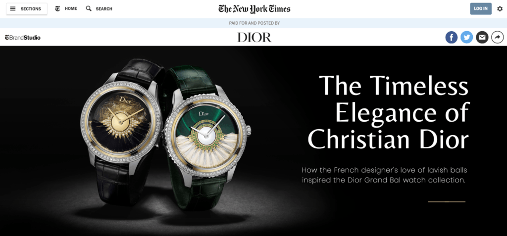 Dior Native Advertising