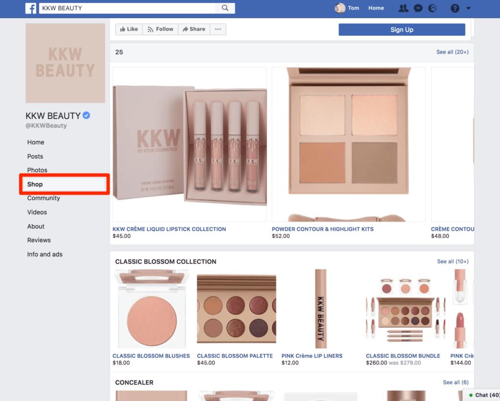 Facebook Shop kkw beauty