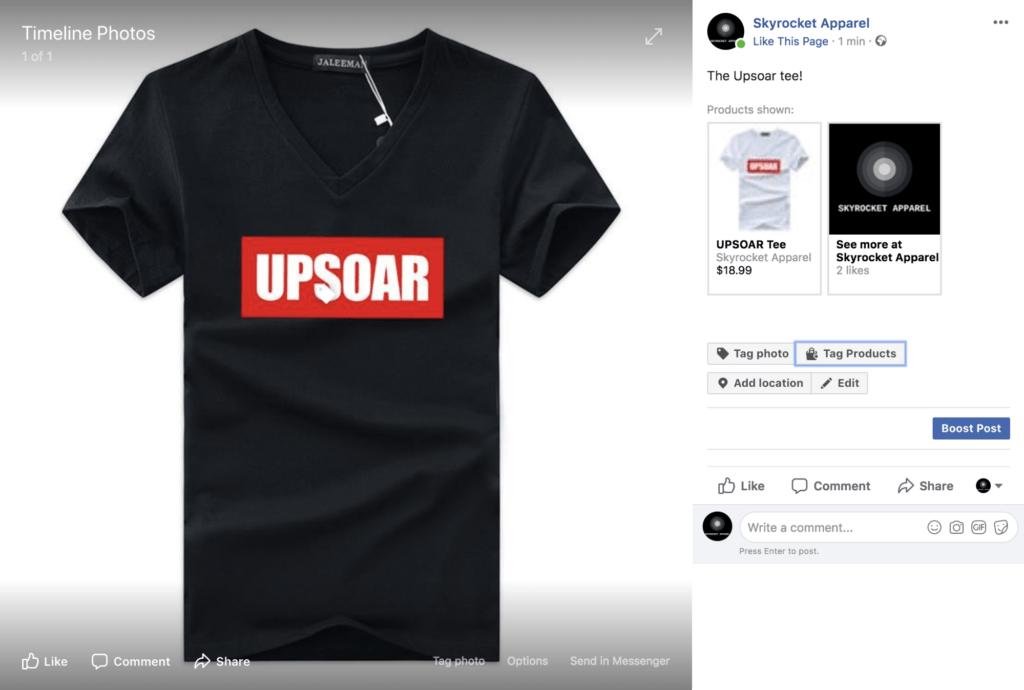 Facebook Shop Pagina prodotto