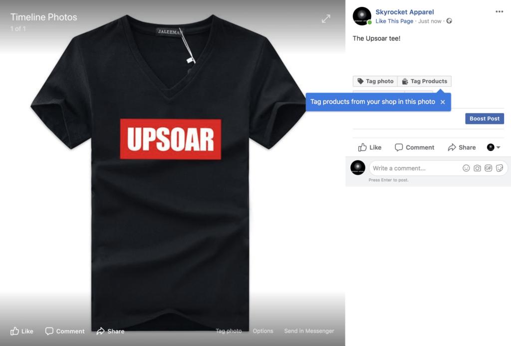 taggare i prodotti Facebook Shop