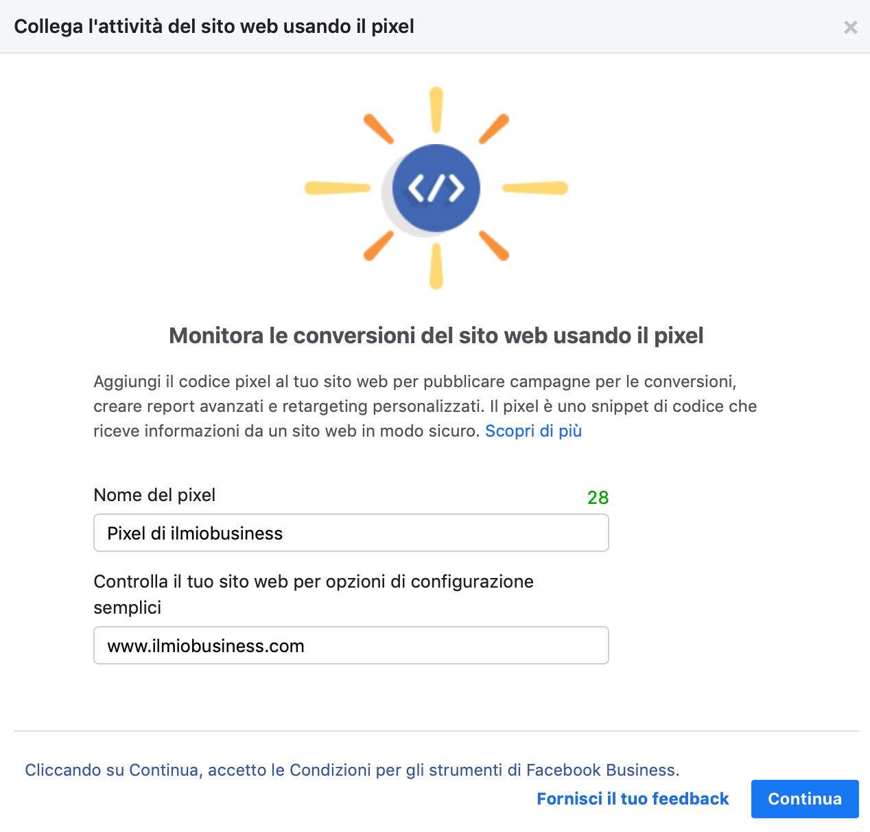 collega l'attività utilizzando il pixel di facebook
