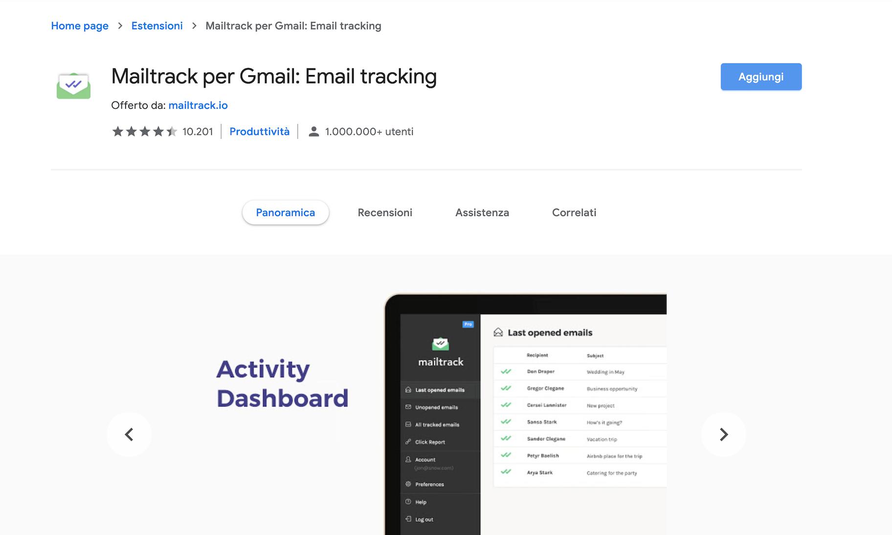 estensioni google chrome mailtrack