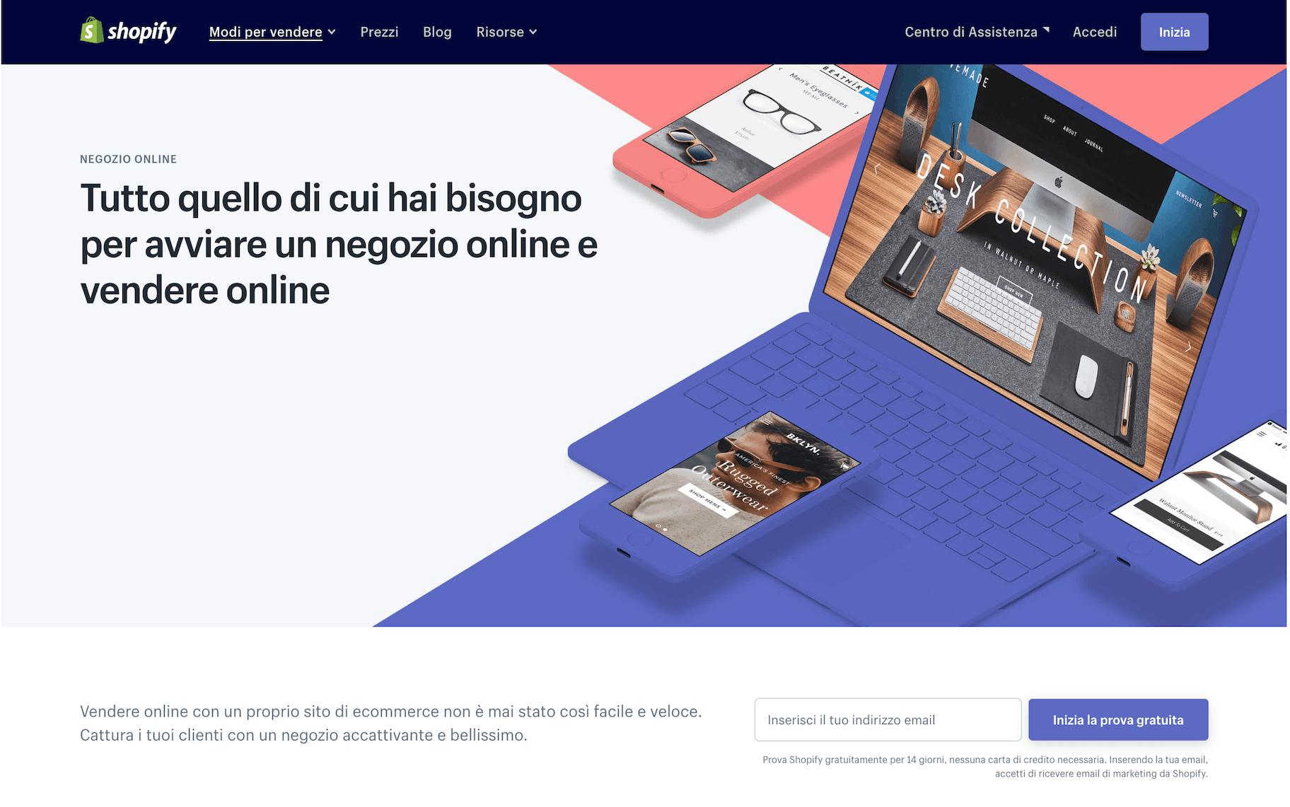 creare un sito ecommerce con shopify