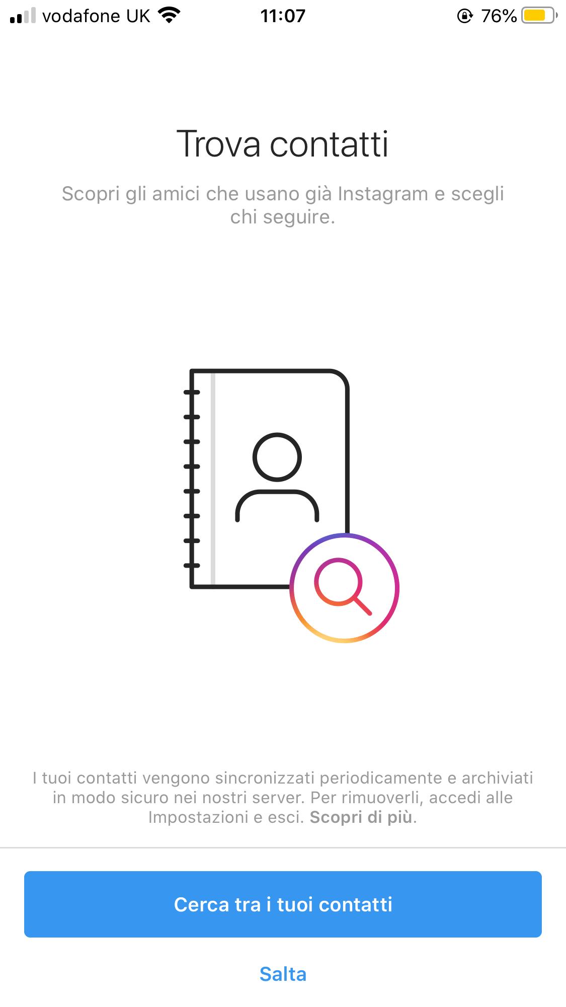 profilo aziendale instagram contatti