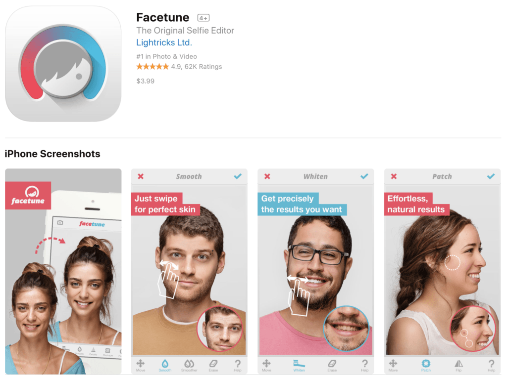 photo apps Facetune Photo Editing App