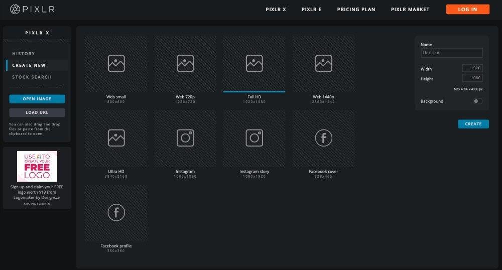 Pixlr - Menú de formatos de diseño gráfico