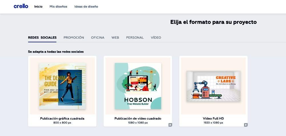 Crello - Selección de formatos de diseño