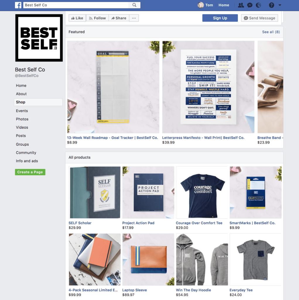 Facebook Shop esempio