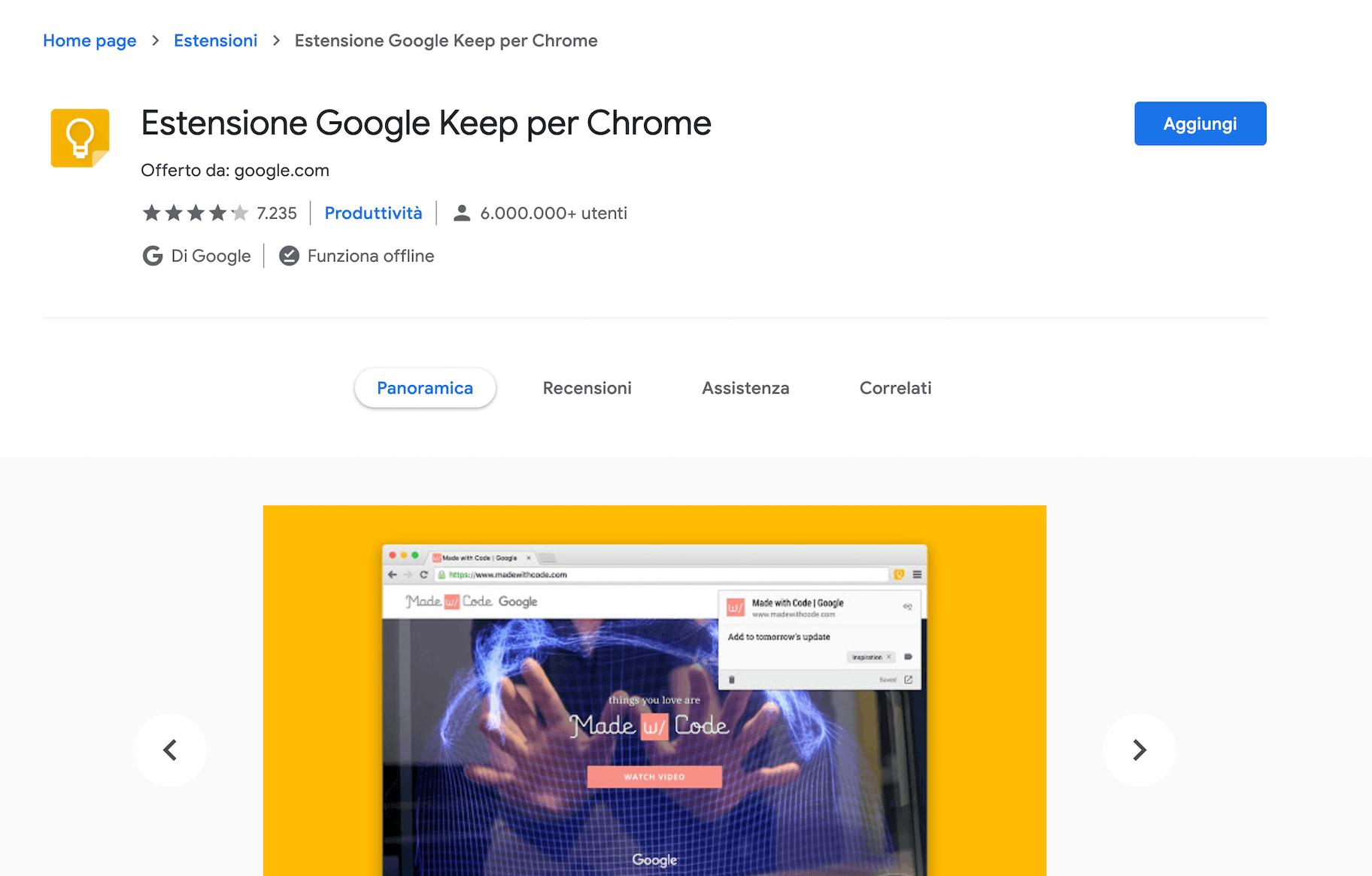estensione google keep per chrome