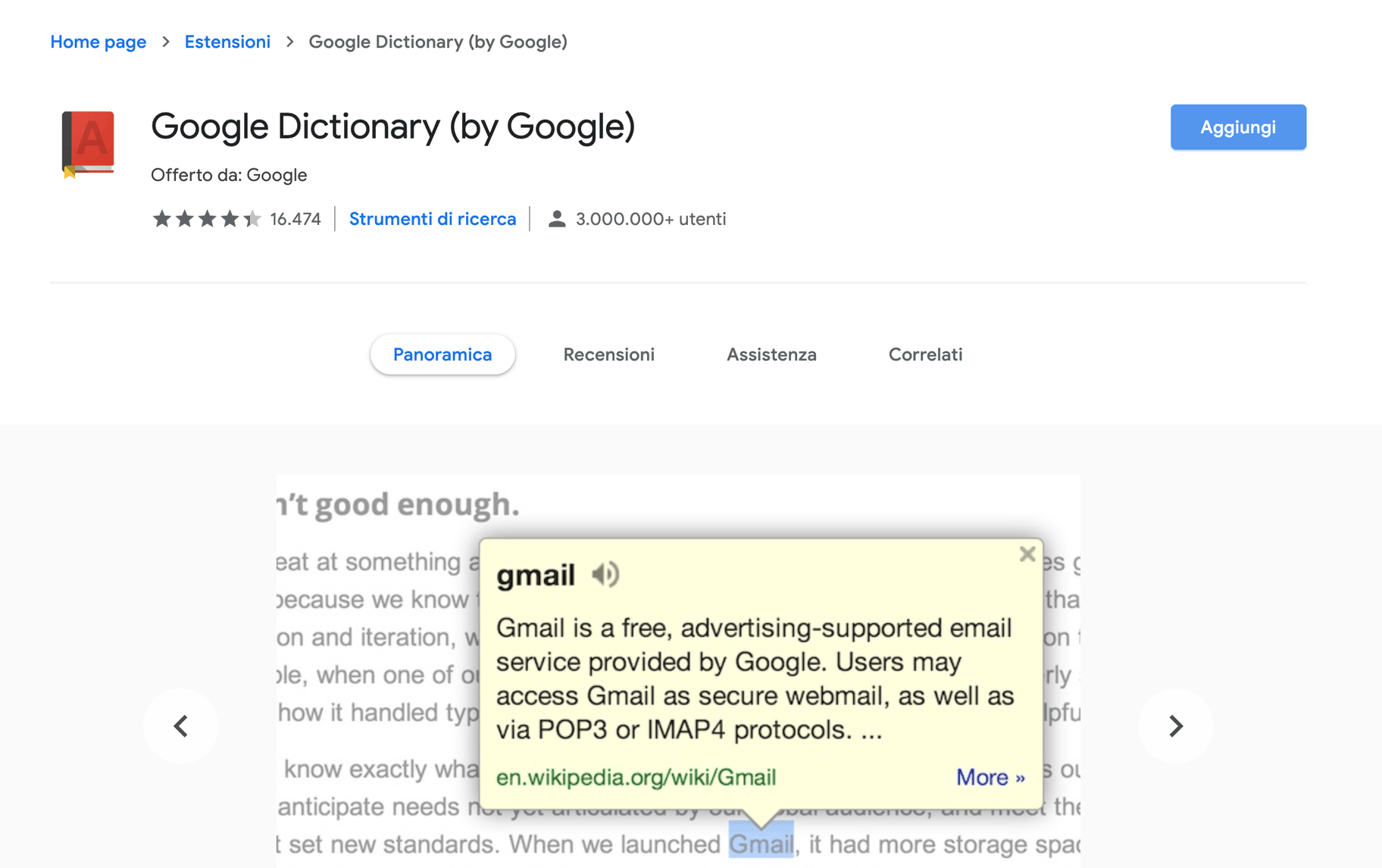 estensioni google chrome dictionary