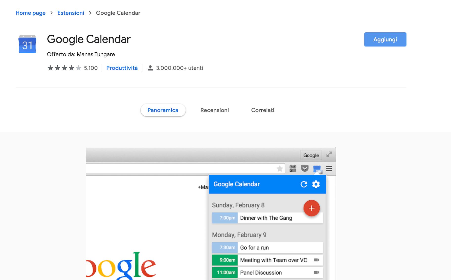 estensioni chrome google calendar