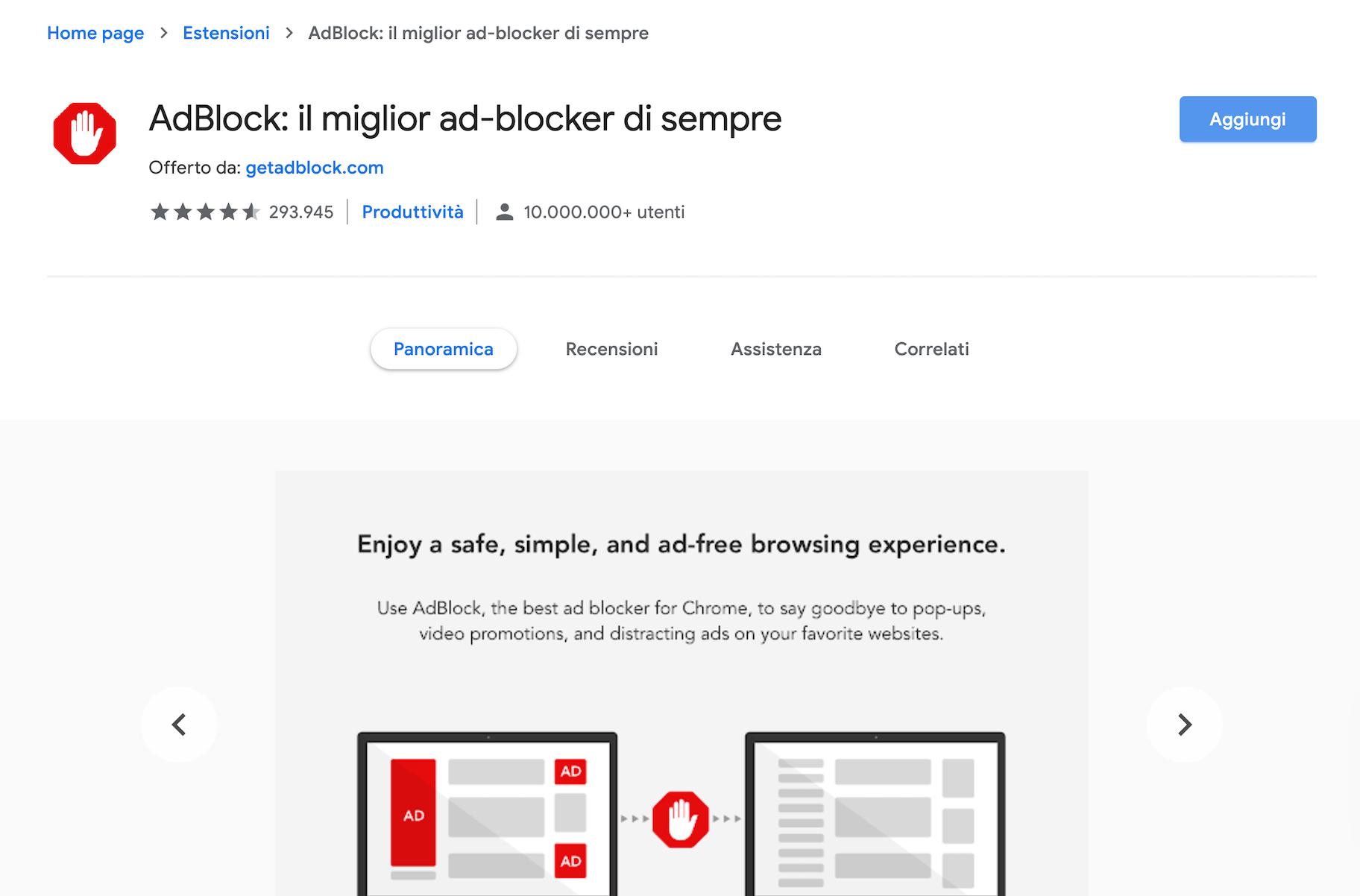estensioni google chrome adblock