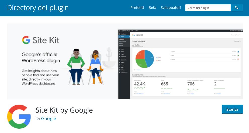 Monitorare un blog: Google site kit plugin
