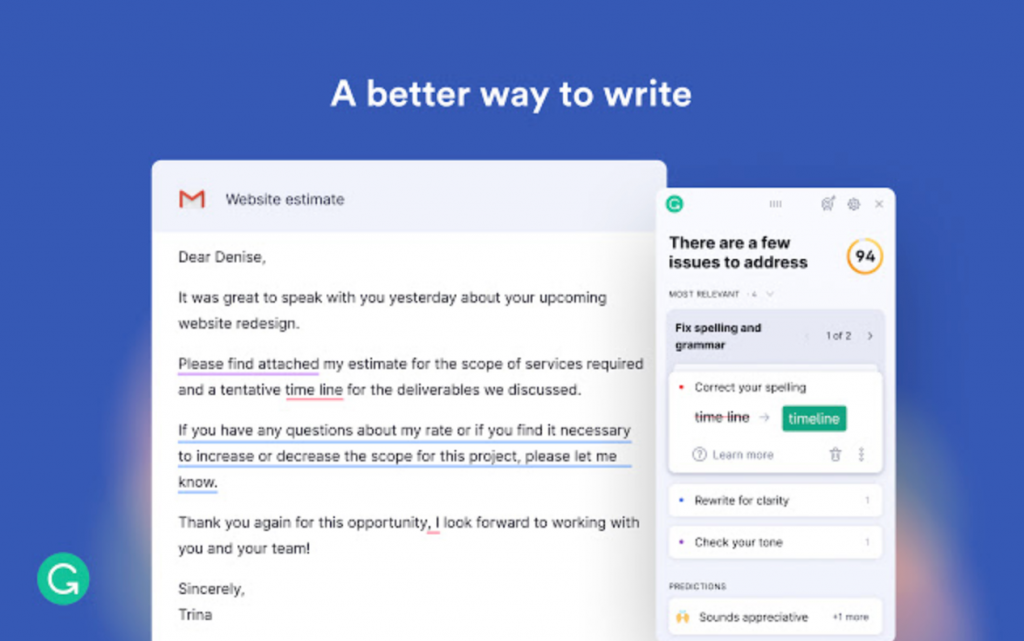 Grammarly for writing skills