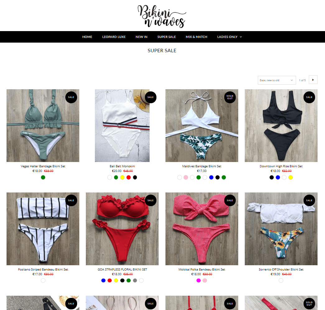 product listing page bikini and waves