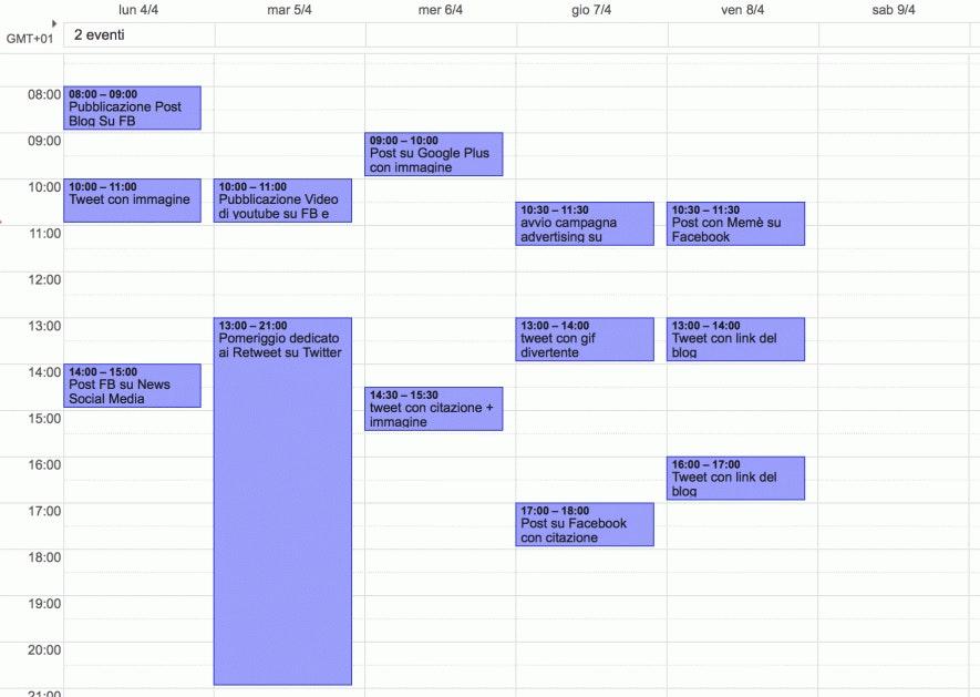 calendario editoriale esempio
