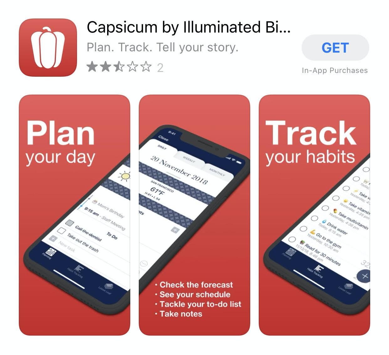 Capsicum uygulaması iPhone