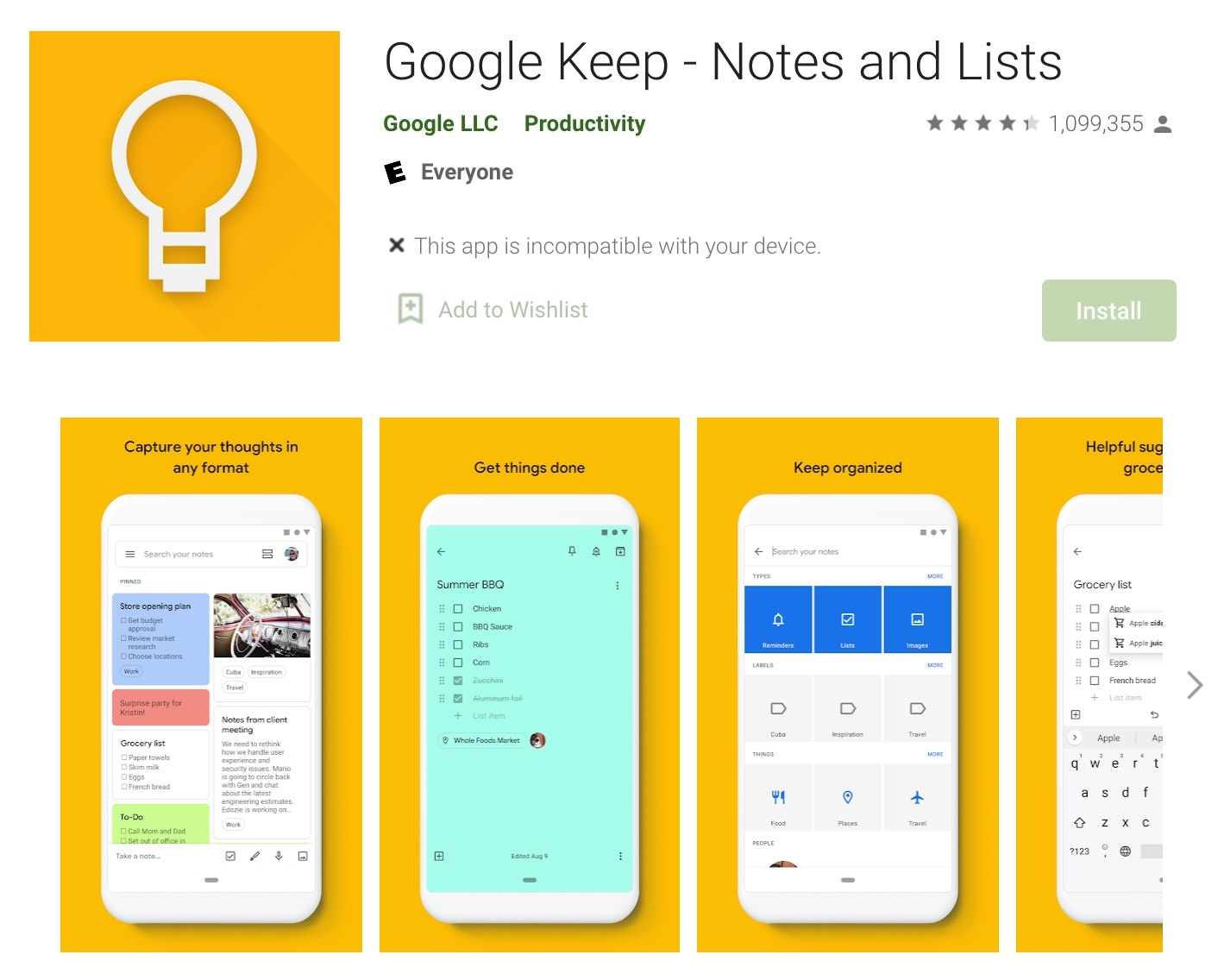 Google Keep notes and list
