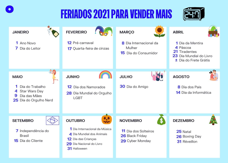 Calendário Oberlo 2021 com feriados