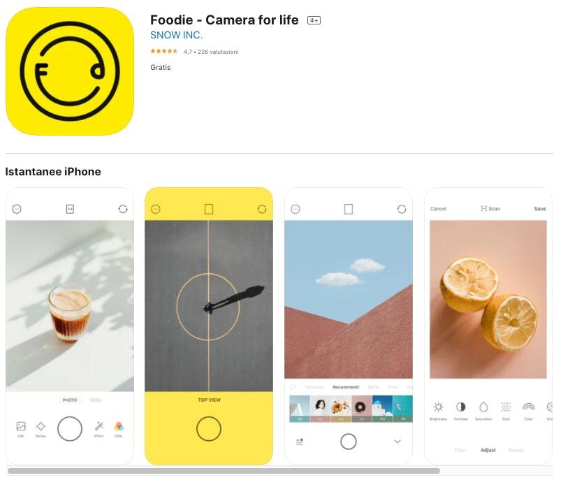Foodie: app per modificare foto