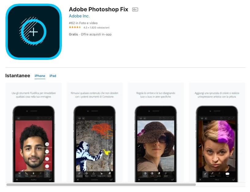 adobe photoshop fix: app per modificare foto