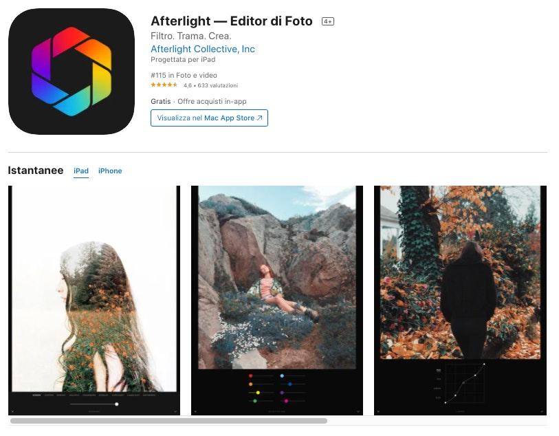 Afterlight: migliori app per modificare foto iPhone e Android
