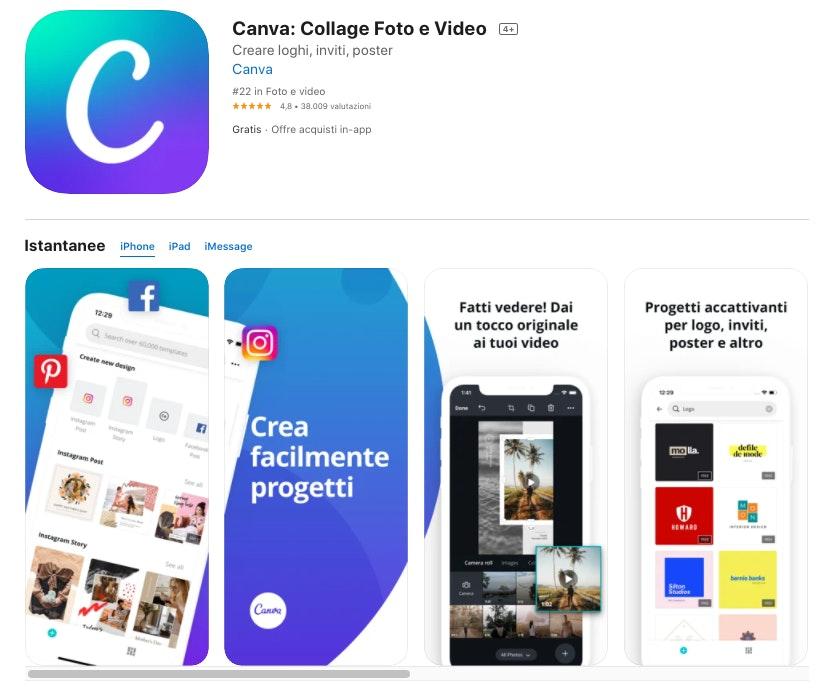Canva app per foto editing
