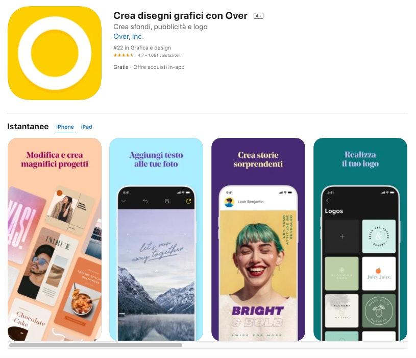 Over App per inserire testi nelle immagini