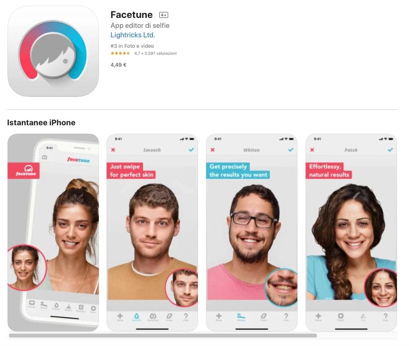 Facetune: migliori app per modificare foto a pagamento
